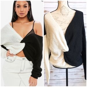 Missguided Black & White Twisted Front Sweater 8